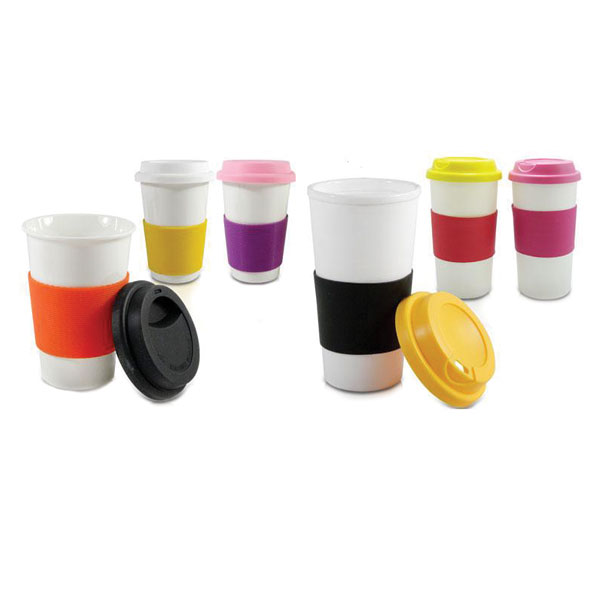 Ceramic Coffee Tumbler with Sleeve & Lid
